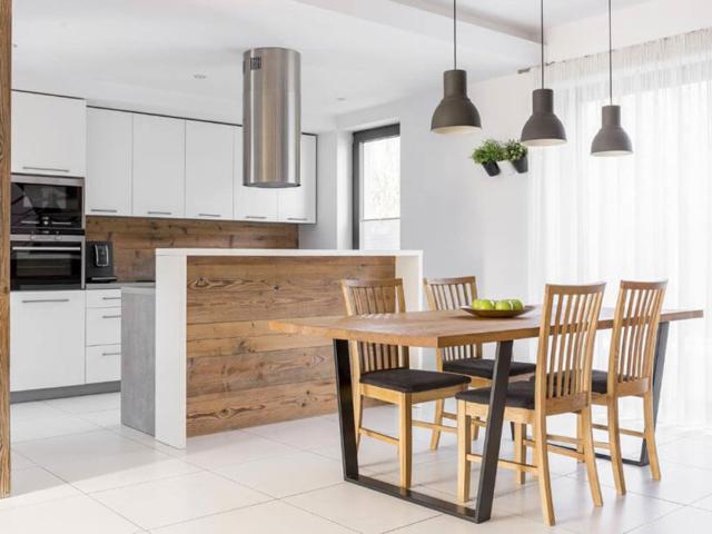 Kuchnia z okapem wyspowym i AGD do zabudowy